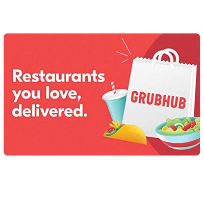 GRUBHUB $25 Gift Card - Gift your friends, family, or yourself the option to order food to be delivered anytime from favorite restaurants.