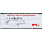 AVIS<sup>®</sup> Rental $25 Gift Card