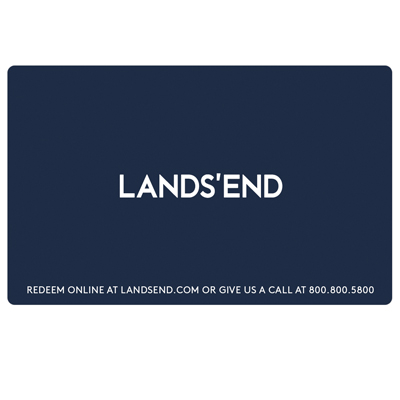 LANDS' END<sup>&reg;</sup> $25 Gift Card - A classic American lifestyle brand with a passion for quality, legendary service and real value, delivering timeless style for men, women, kids and the home.  Specialty catalogs are available for Men, Women, Kids, Home, Lands' End Plus and School Outfitters.  Gift cards are redeemable online or with catalog order. Visit them at www.landsend.com, or to request a catalog by phone 800-800-5800.