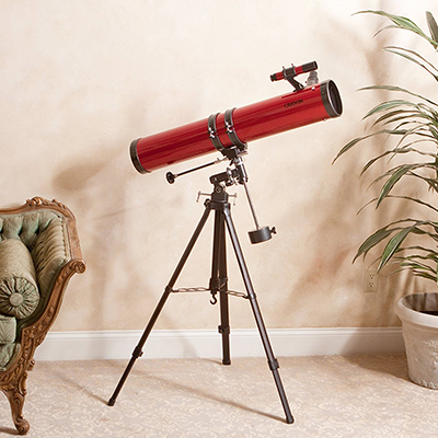 CARSON<sup>®</sup> Red Planet 45x-100x Newtonian Reflector Telescope - View the Rings of Saturn, the Moons of Jupiter and much more with this Newtonian Reflector telescope. Features include large 114mm diameter reflecting mirror which captures plenty of light for crisp, bright, detailed images. Also includes a K20mm and K9mm eyepiece, high-quality, heavy duty aluminum tripod and a sturdy equatorial mount to counteract shaking and movements and setting circles which allow you to dial in coordinates to find specific stars and constellations.